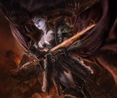 灵魂的传说,翅膀,女孩,剑,艺术