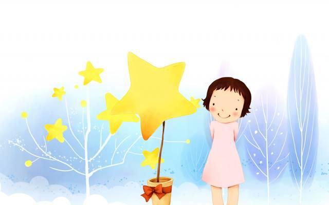 女孩,树枝,锅,树,连衣裙,弓,明星,宝贝壁纸