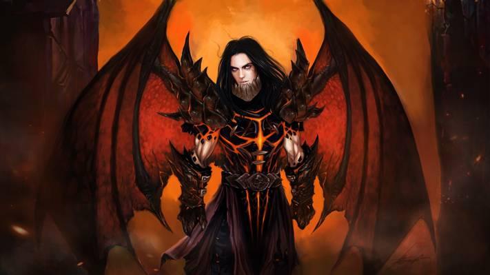 恶魔,翅膀,盔甲,艺术,家伙