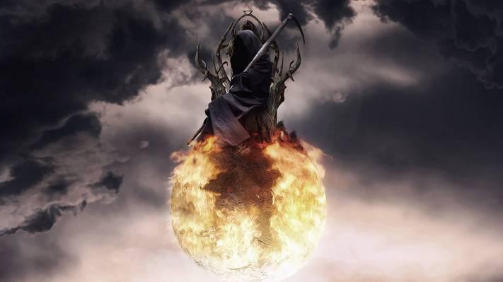 云,死亡,艺术,球体,王位,球,天空,辫子,火