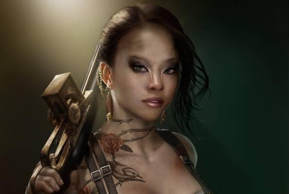 武器,纹身,艺术,疤痕,装饰,玫瑰,头骨,耳环,女孩,鸟,突变体,倒钩,纹身