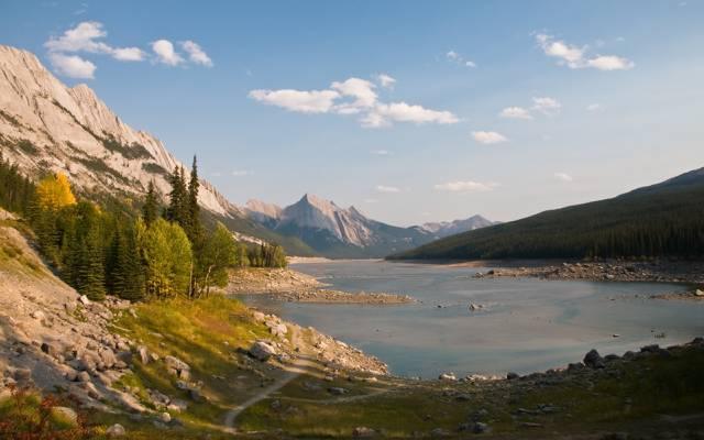 路径,景观,湖,绿色,山