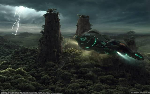船,闪电,艺术,树木,专栏,jieanu dragos,飞行,岩石,运输