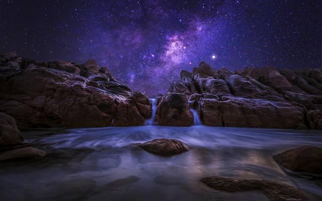 自然,西澳大利亚,夜晚,银河,海洋,天空,岩石,星星,石头