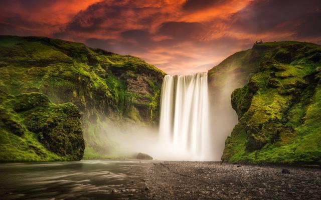 壁纸山,性质,瀑布,斯科加瀑布,冰岛,斯科加瀑布,冰岛,天空,河流,日落