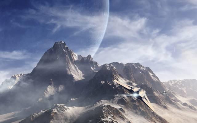 壁纸雪,艺术,山,飞机,行星,上衣,飞行,小说