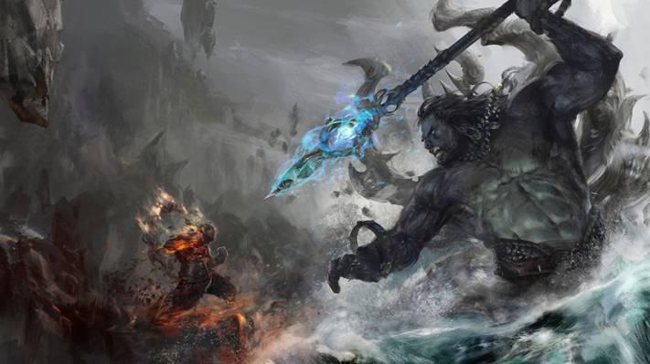 壁纸战斗,水,艺术,巨人,矛,火