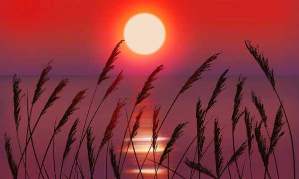 傍晚水面落日景色图片