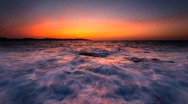 海上夕照风光高清图片