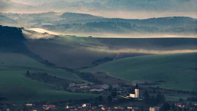 小镇田园自然风光图片