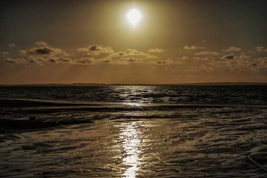 斜阳沙滩景观图片