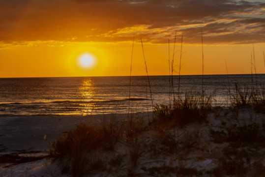 大海沙滩暮色景观图片