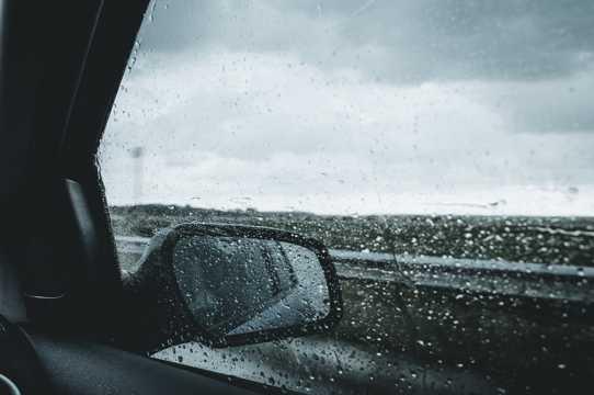 轿车后视镜里的自然风光图片