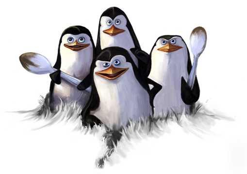 四只可人的企鹅图片