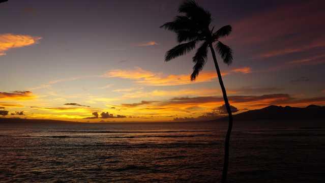 夏威夷夕阳唯美图片