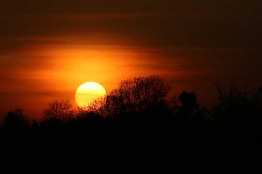 傍晚太阳下山图片