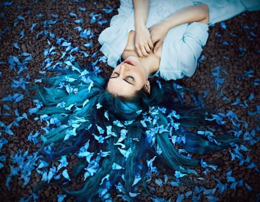 壁纸花,心情,女孩,罗尼·加西亚,头发