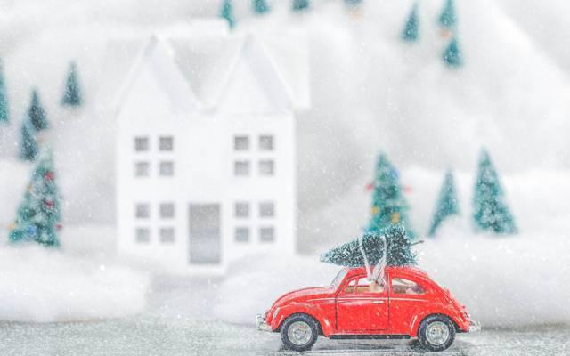 圣诞节,新年,树,大众汽车,树,冬天,雪,玩具,机器