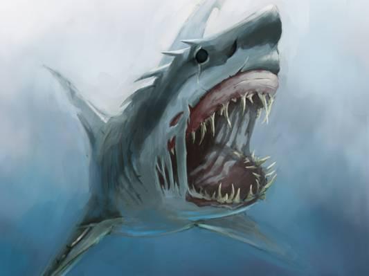 鲨鱼,f牙,艺术,饥饿,嘴巴,水下,怪物