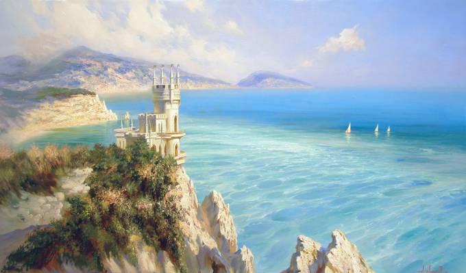 美容,山,克里米亚,城堡,海,空间,蓝色,Miliukov亚历山大,岩石,风帆,景观,燕窝