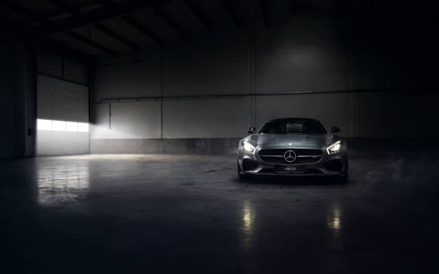 银,颜色,奔驰,安加,AMG,引擎,前面,烟