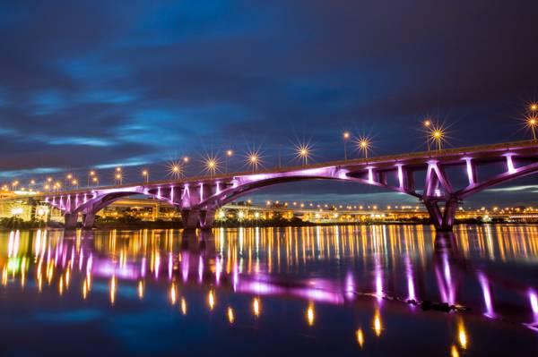 壁纸桥,河,反射,中国,台北,城市,灯,灯,反射,夜,台湾,夜晚,河,背光,...