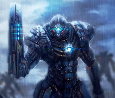 武器,金属,盔甲,艺术,战士,机器人