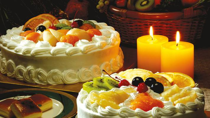 壁纸猕猴桃,蜡烛,甜点,蛋糕,茶碟,奶油,橘子,葡萄,表,粉扑,樱桃,切片,樱桃,水果,菠萝,...
