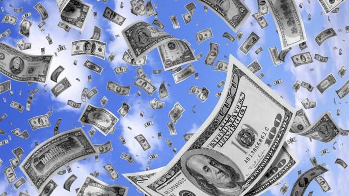 云,天空,票据,美元,背景,钱