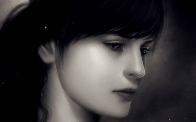 肖像,特写,单色,单色,火花,女孩