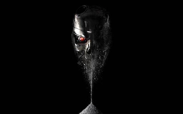 壁纸红色,眼睛,终结者:Genisys,终结者:创世纪,终结者,灰烬,倾盆大雨,黑色背景,头骨,小说