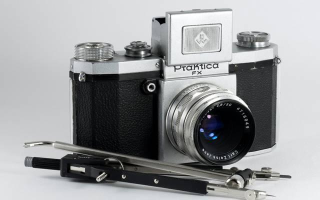 指南针,卡尔蔡司,相机,复古,Praktica