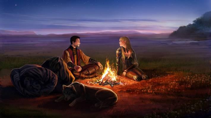 火焰,艺术,背包,anndr,火,男性,女孩,晚上,精灵