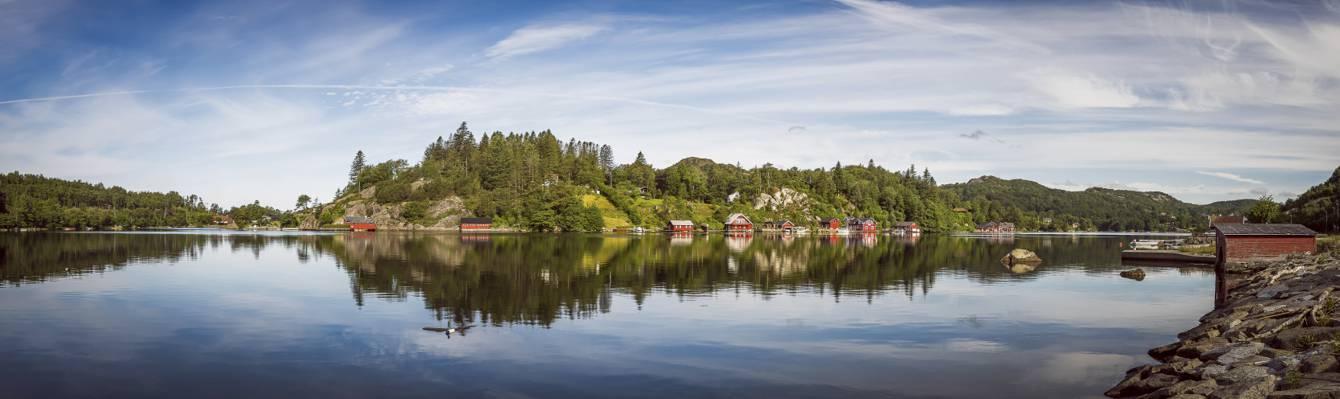 壁纸埃格松,挪威Kjeøy,全景,挪威