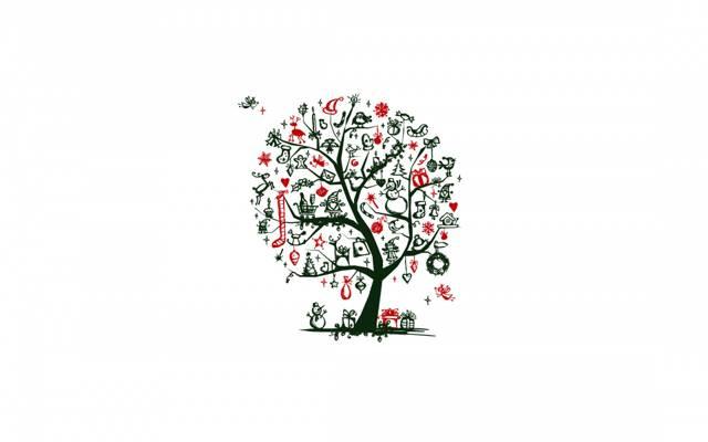 树,圣诞老人,玩具,矮人,雪花,姜饼人,树,手套,袋,鹿,雪人,极简主义,分支,...