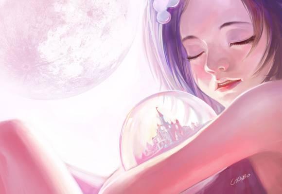 艺术,梦想,睡眠,女孩