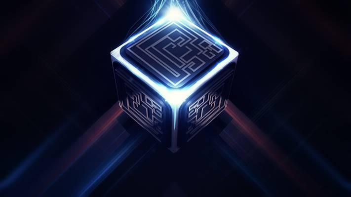 数字艺术,链接,迷宫,立方体