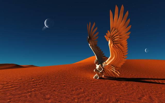 行星,翅膀,艺术,天使,沙漠,沙,女孩,阴影,蓝色,天空,小说,星星