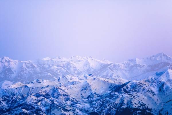 雪覆盖山脉,太阳谷,爱达荷州高清壁纸