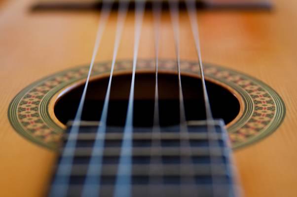 声学吉他弦的宏观射击摄影高清壁纸