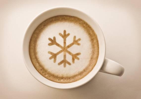雪花,盅,白,喝,卡布奇诺,咖啡,泡沫
