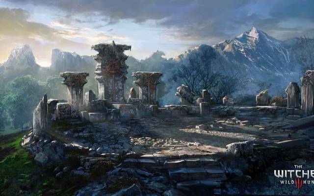 壁纸巫师3:狂猎,巫师,山脉,艺术,纪念碑