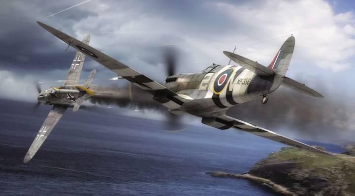 空军,二战,喷火F.Mk.IX,Bf.109G-6,混战,梅塞施米特,皇家空军,绘画