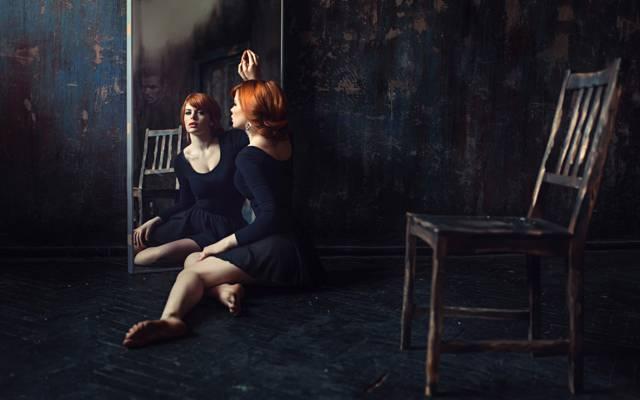 反思,寂寞,镜子,男性,女孩,乔治Chernyadyev,红发,椅子