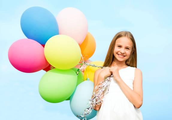 气球,球,女孩,快乐,女孩,多彩,微笑,欢乐,幸福,天空,气球