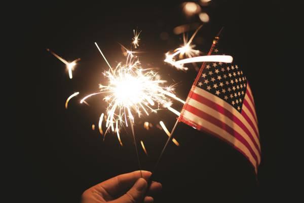 美国国旗和鞭炮高清壁纸