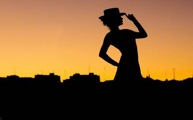 帽子,城市,剪影,探戈,构成,女人