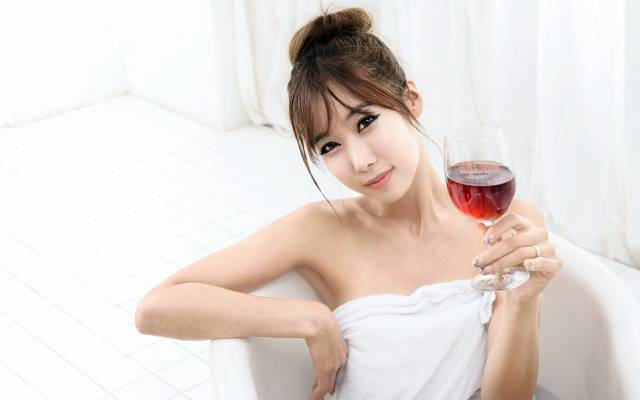 亚洲人,酒,女孩
