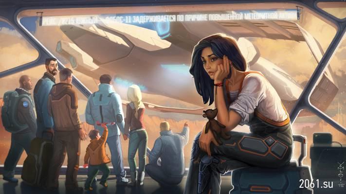 玩具,太空港,艺术,等待,人,女孩,小说,熊