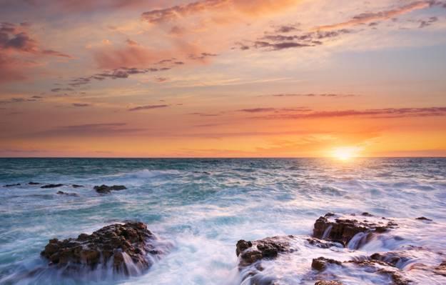 海,云,太阳,石头,日落